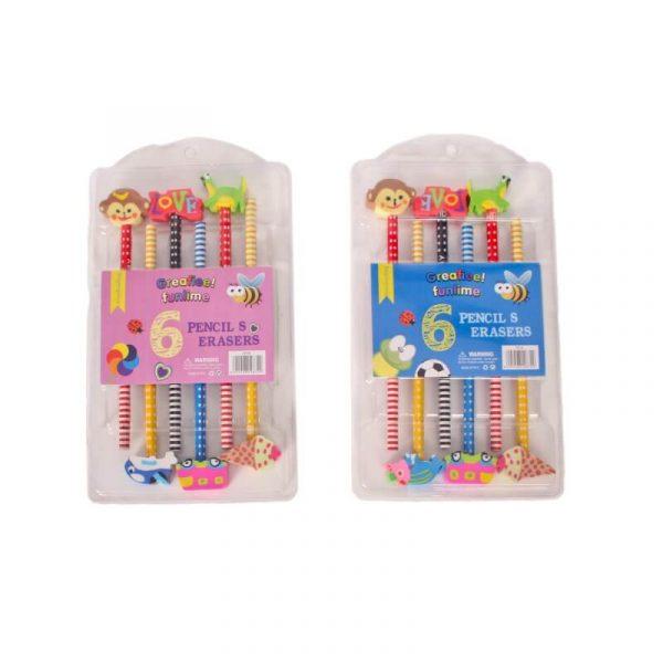 Sleeping Beauty Traders - 6 Pencil Eraser Set
